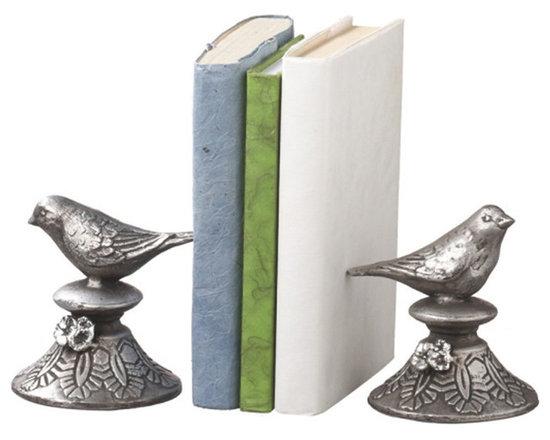 Silver Birds Book Ends -