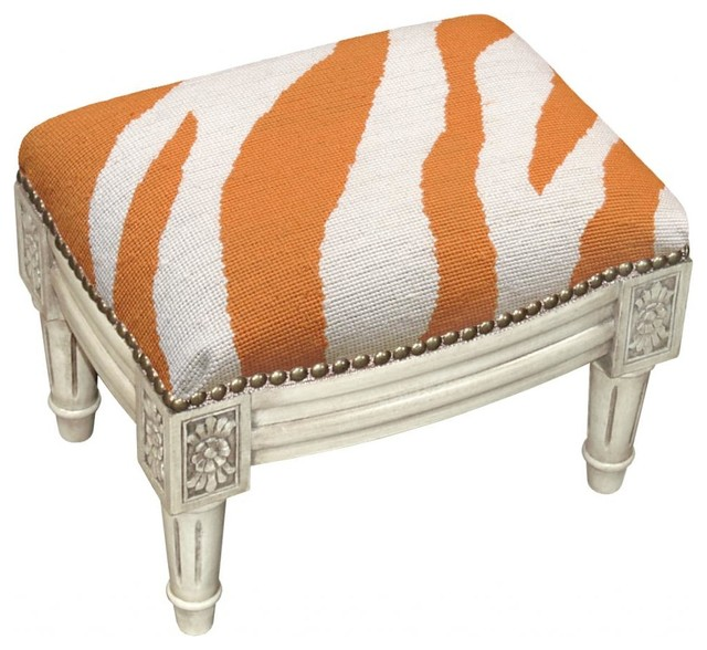 Zebra Wool Needlepoint Wooden Footstool. Antique white wash. transitional-footstools-and-ottomans