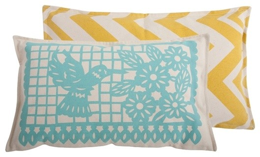 Thomas Paul Banner Aqua Cotton Pillow contemporary pillows