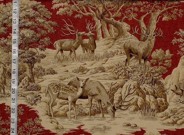 Deer Fabric Red Toile Woods Nature Woodland Lodge Rustic