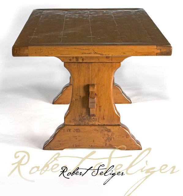 Trestle base dining table whalebone trestle design for Traditional dining table bases