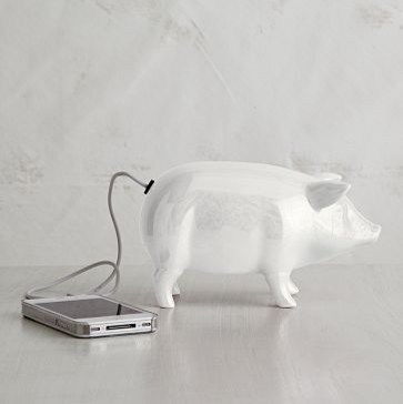 Ceramic Pig Speaker eclectic home electronics