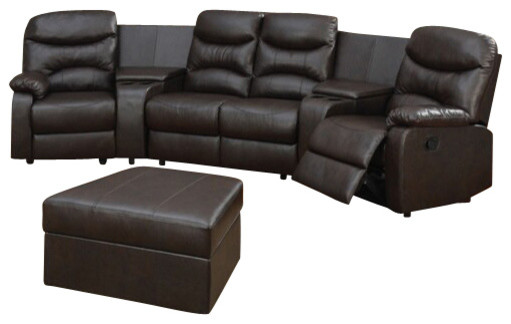 5 Piece Brown Bonded Leather Match Theatre Sectional