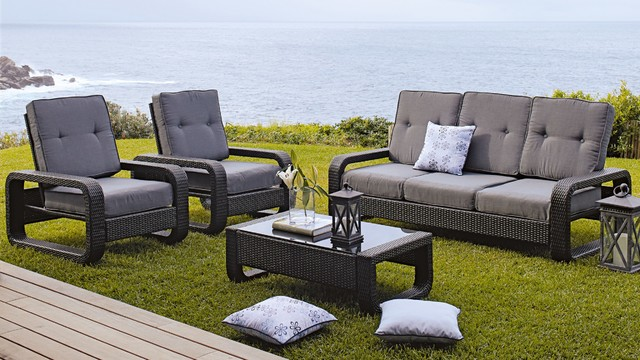 Berkley 4 Piece 3 Seater Outdoor Lounge Suite Contemporary Patio Furnit