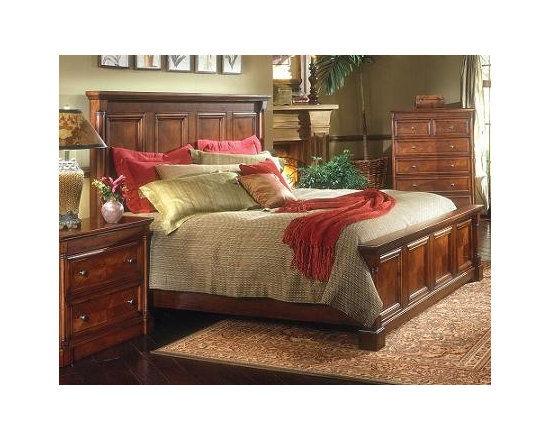 Heritage Manor - The Heritage Manor bedroom set is a boldly styled, traditional group in a rich cherry finish. This collection is known for its distinctive deep relief carvings and structural design. It is constructed of solid Cherry and Cherry veneers with maximum width drawers and stainless steel hardware. The top drawers are Cedar lined for durability and safekeeping of your precious garments. Ask about the 4 hidden jewelry drawers!