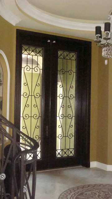 Solid Mahogany 10' Feet Double Entry Doors with Wrought Iron Grills mediterranean-front-doors