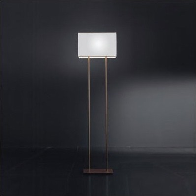 Blissy Floor Lamp in Metallic Brown Finish with White Shade