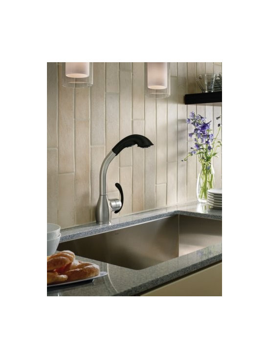 Moen Neva Spot resist stainless/softgrip one-handle pullout kitchen faucet - Neva™ offers a distinctive focal point for any kitchen decor. The transitionally styled, single–handle faucet offers a unique angular, high–arc pullout spout with three spray options.