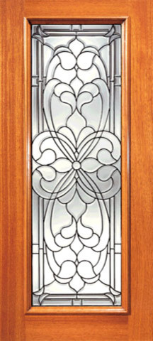 Floral Scrollwork Beveled Glass Front Single Door, Full Lite traditional-front-doors