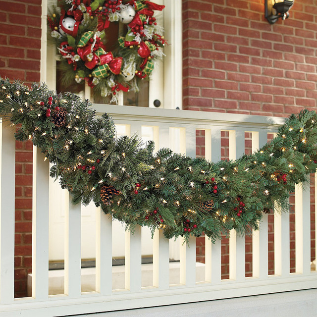 Classic pre lit door christmas swag christmas decor Classic outdoor christmas decorations