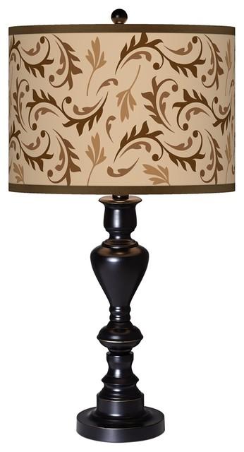 Traditional Fall Breeze Giclee Glow Black Bronze Table Lamp traditional-table-lamps