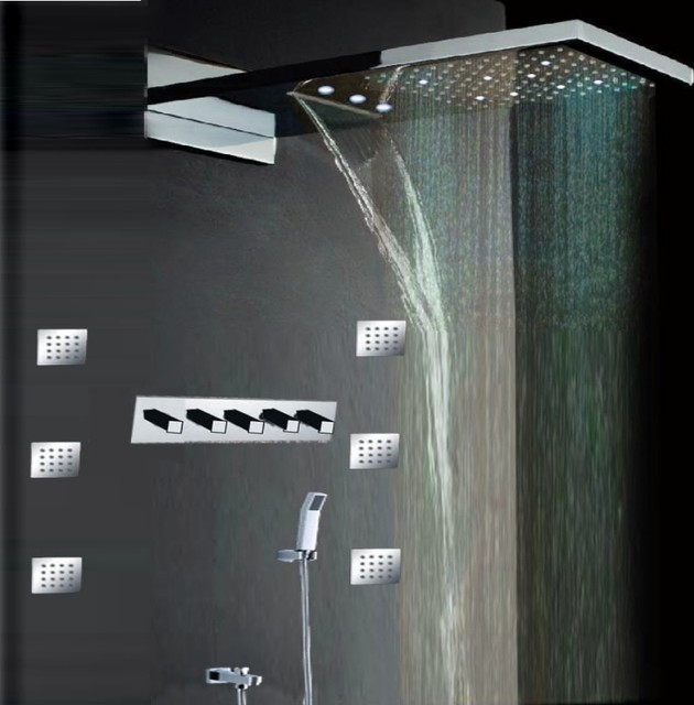 Rectangle Showerhead Contemporary Led Shower Set Silver Modern Showerheads And Body Sprays