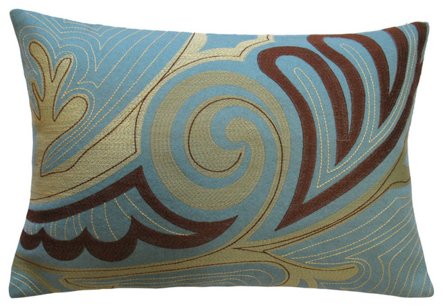 Koko - Dune 13x20 Leaves Pillow modern-bed-pillows-and-pillowcases