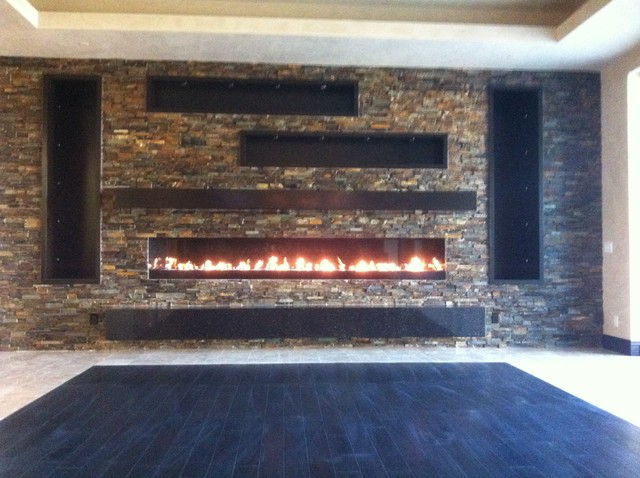 Las Vegas Linear Gas Fireplace Contemporary Indoor Fireplaces Los Angeles By Masonry