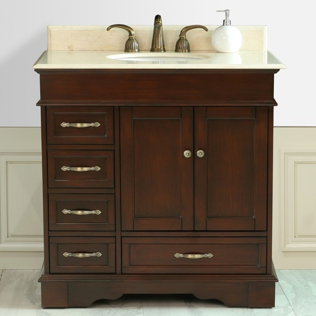 Virtu 39 Oxford 39 36 Inch Single Sink Bathroom Left Side Vanity Contemporary Bathroom Vanities