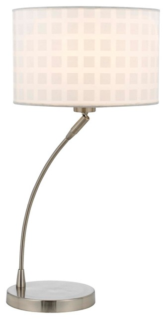 Contemporary Callie Curved Arm Brushed Steel Table Lamp contemporary-table-lamps