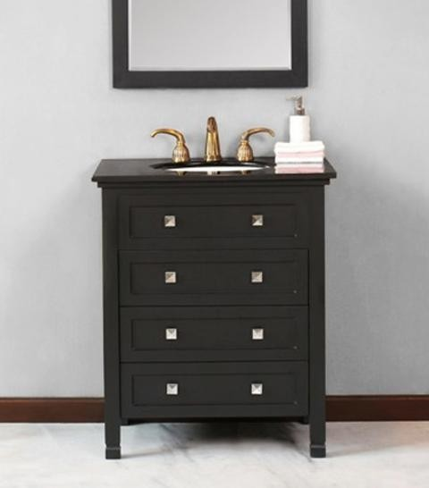 Virtu USA 30 Alpine Black Black Galaxy Single Sink Bathroom Vanity