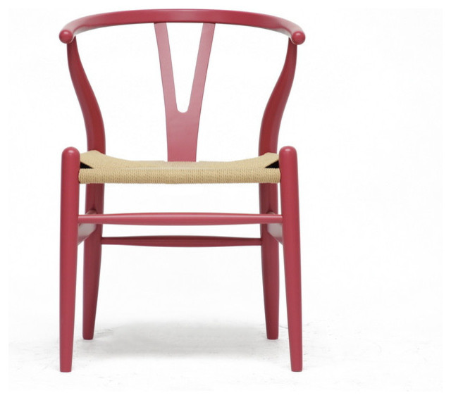Hans Wegner style Wishbone Chair - Pink Wood with Natural Seat contemporary-dining-chairs