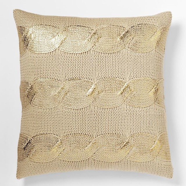 Modern Gold Pillows : Gilded Cable Pillow Cover, Gold - Contemporary - Decorative Pillows - by West Elm