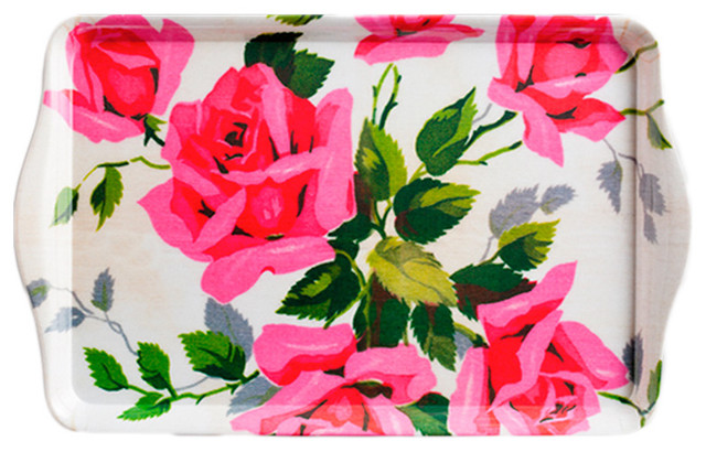 Rosanna Fleamarket Chic Pink Rose Tray contemporary-platters