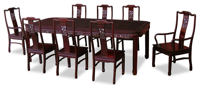 96in rosewood dragon design dining table with 8 chairs asian dining sets by china. Black Bedroom Furniture Sets. Home Design Ideas