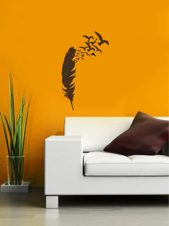 Vinyl Decals Flying Birds from Feather Home Wall Art Decor Removable Stylish Sti -