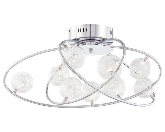 "Possini Euro Design - Possini New Orbit Chrome Finish 23 3/4"" Wide Ceiling Light - The asymmetrical design of the New Orbit ceiling light combines with its brilliant chrome finish to create a head-turning light fixture. Nine halogen bulbs shine through sparkling glass spheres to illuminate your living spaces. Chrome finish. Includes nine 20 watt G4 halogen bulbs. 23 3/4"" wide. 15"" high.  Chrome finish.   Includes nine 20 watt G4 halogen bulbs.   23 3/4"" wide.   15"" high.  Takes a Low Voltage dimmer."