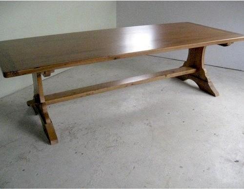 Rustic Old Oak Table With Trestle Base Farmhouse