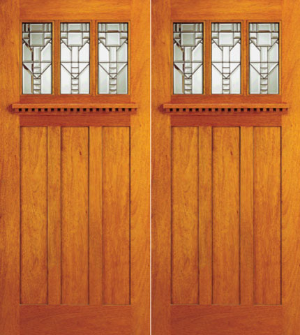Mission Style Mahogany Double Prehung Front Doors Three