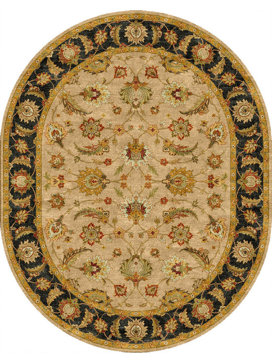 Jaipur Rugs - Traditional Oriental Pattern Beige /Brown Wool Tufted Rug - MY02, 8x10 Oval - Sublime hues and graceful lines accentuate the traditional pattern motifs in Mythos, an elegant and value-driven range of durable, hand-tufted area rugs. This sophisticated collection is for the discriminating consumer with a passion for traditional design, at prices that answer every budget. The Mythos Collection is tradition, redefined.