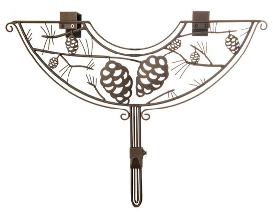 Village Lighting - Pinecone Adjustable Wreath Hanger - Have a beautiful wreath and want to showcase it against your door? Why not add an elegant and festive wreath hanger. The unique double top hanging bracket design offers extra strength and a stunning unique design. The hanger is also adjustable to suit your door style: whether your door has a window or decorative molding on the front or just recessed decorative trim, the adjustable wreath hanger is the perfect solution. Each hanger is designed to hold your treasured wreath without causing damage to your door. The classic design is scrolled in sturdy, durable iron and will hold up for years to come. A perfect companion to the Garland Hanger!