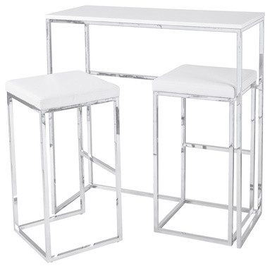 Cubic Compact Breakfast Bar With Stools White Modern