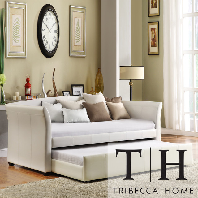 TRIBECCA HOME Deco White Faux Leather Modern Daybed with Trundle ...