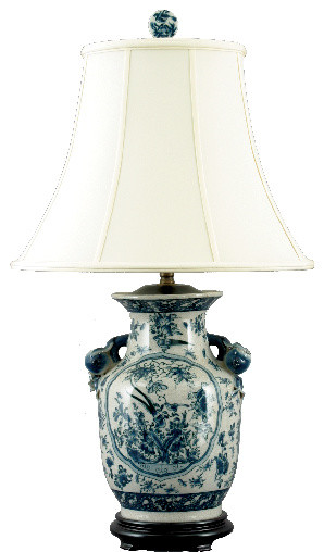 Kitchen lighting ceiling blue tea kitchens - Asian Blue And White Porcelain Lamp Traditional Table
