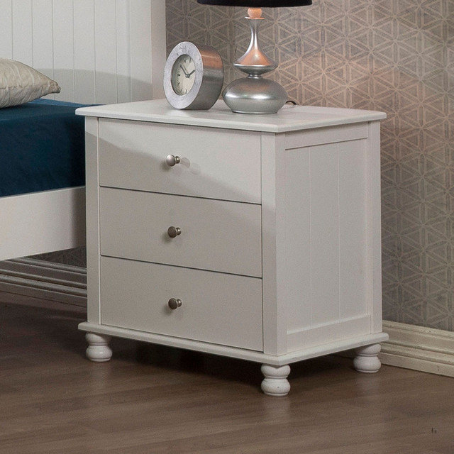 White Anderson 3 Drawer Nightstand Contemporary