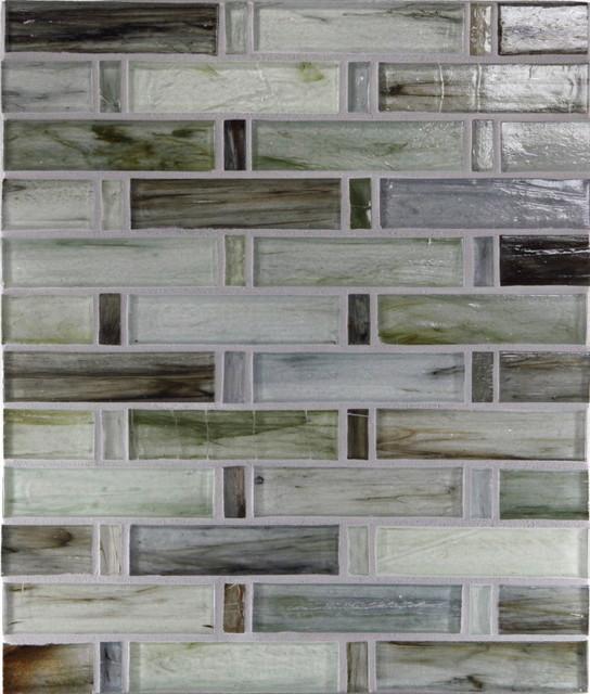 "Porcelain 1"" x 4"" Green Pool Glossy Glass modern-tile"