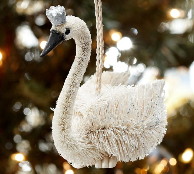 Crowned Swan Ornament - Eclectic - Christmas Ornaments - by Pottery Barn