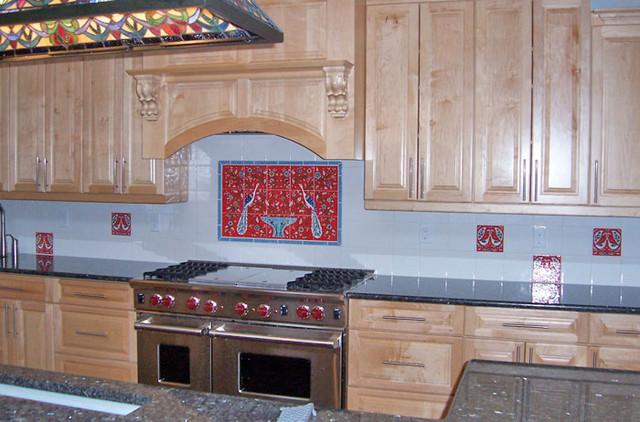 nancy 39 s hand painted red kitchen backsplash mediterranean tile