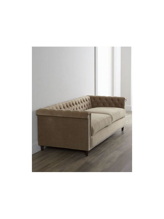 """Haute House - Haute House """"Bella"""" Chesterfield Sofa - Exclusively ours. Low-profile sofa amps up the WOW factor with tufting on the arms and back and nailhead trim outlining the arm panels and along the rail. Alder wood frame with hand-painted finish. Polyester upholstery. Select color when ordering....."""