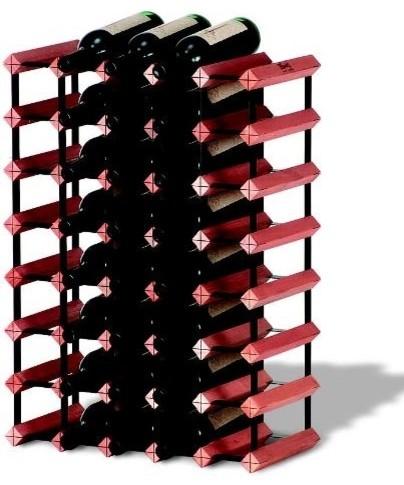 Monterey Wine Racks Modular Hardwood and Steel 40-Bottle Rack Kit rustic-wine-racks