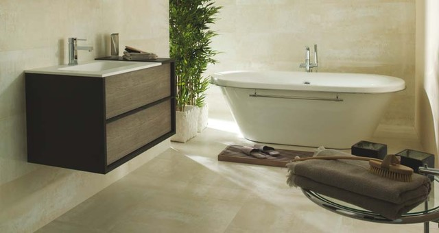 Porcelanosa Shine Titanio wall tiles contemporary bathroom tile