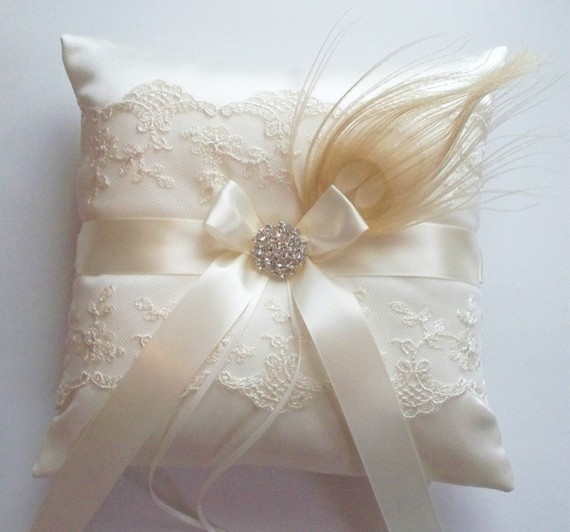 Traditional Wedding Ring Pillow : Peacock Feather Ringbearer Pillow By JLWeddings - Traditional - Decorative Pillows - by Etsy