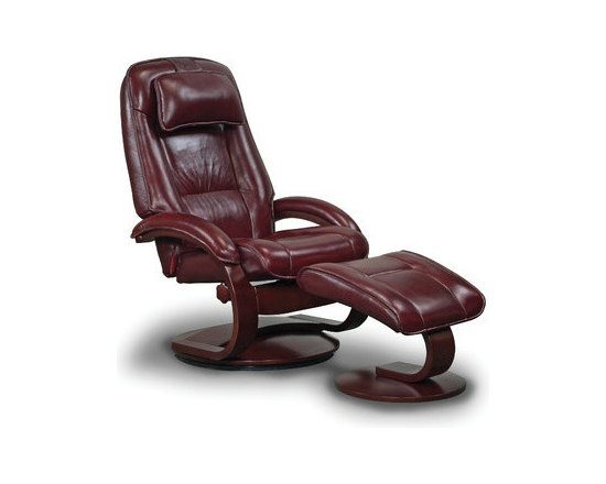 """Mac Motion - Oslo 52 Leather Ergonomic  Recliner and Ottoman - Features: -Leather type: Top grain.-Tension control.-Bent arm frame with adjustable headrest attached.-360 degree parameter swivel.-Provides stable setting and adjustment for personalized reclining positions by one single handle to any position.-Matched to contoured angled ottoman to complete the therapy seating of full body personalized comfort.-Seat cushions attached.-Back cushions attached.-1'' Memory foam.-Frame construction: Hardwood.-Collection: Oslo.-Distressed: No.-Upholstery Material: Leather.-Frame Material: Wood.-Hardware Material: Steel.-Solid Wood Construction: No.-Number of Items Included: 2.-Pieces Included: Recliner and Ottoman.-Non-Toxic: No.-Water Resistant: No.-Fire Resistant: Yes.-Heating: No.-Scratch Resistant: No.-Stain Resistant: Yes.-Mildew Resistant: No.-Fade Resistant: No.-Tear Resistant: No.-Coils or Springs: No.-Seating Comfort: No.-Cushion or Upholstery Fill Material: Foam; Dacron Wrap.-Removable Seat Cushion: No.-Slipcovered: No.-Skirted: No.-Ottoman Included: Yes -Storage Ottoman: No.-Angled Top Ottoman: Yes..-Toss Pillows Included: No.-Adjustable Headrest: No.-Rocker: No.-Swivel: Yes.-Wall Hugger: No.-Power Recline: No.-Reclining Mechanism Side: Right.-Reclining Mechanism Details: Handle.-Required Back Clearance to Recline: 12"""".-Required Front Clearance to Recline: 3"""".-Cupholders: No.-Footrest Included: Yes -Retractable Footrest: No..-Back Type: Tight Back.-Arm Type: Round Arm.-Removable Legs: No.-High Legged: No.-Casters: No.-Nailheads: No.-Storage: No.-Weight Capacity: 280 lbs.-Swatch Available: Yes.-Commercial Use: No.-Recycled Content: No.-Eco-Friendly: No.-Product Care: Wipe clean with moist cloth.Specifications: -FSC Certified: No.-CARB Compliant: Yes.-ISTA 3A Certified: No.-Green Guard Certified: No.-ISO 9000 Certified: No.-ISO 14000 Certified: No.-SFI Certified: No.Dimensions: -Overall Height - Top to Bottom: 44.75"""".-Overall Width - Side to Side: 30"""".-Overall Depth"""