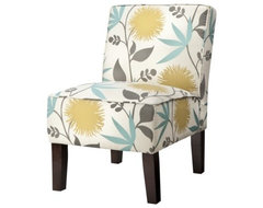 Armless Upholstered Slipper Chair, Aegean Blue & Yellow Floral contemporary chairs