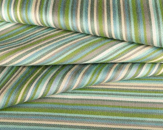 Thick Thin Outdoor Fabric in Blue Foam - Thick Thin Outdoor Fabric in Blue Foam is a striped 100% Sunbrella upholstery fabric that is bright and contemporary, perfect for the patio or indoor areas that need extra durability! The alternating stripes in shades of blue, cream, and green create a dimensional look for decorative toss pillows, chair pads, placemats, and more. American made with 100% Sunbrella Acrylic, this fabric has a width of 54″ and a vertical repeat of 18″.