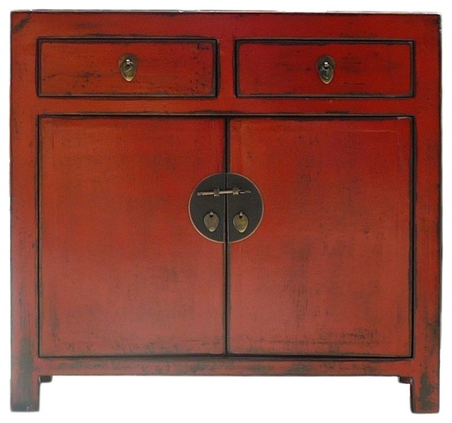 Red Rustic Lacquer Slim Side Table Cabinet