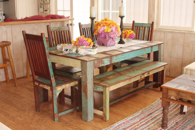 Indian reclaimed dining room set eclectic dining tables los angeles by tara design - India dining table ...
