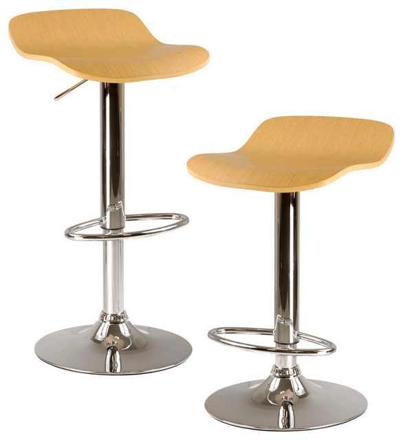 Winsome Wood Kallie Set of 2 Air Lift Adjustable Stool w/ Cappuccino Color Wood contemporary-bar-stools-and-counter-stools
