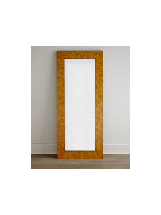 """Horchow - Burlwood Floor Mirror - Exclusively ours. Talk about gorgeous! Whether you lean it against a wall or hang it, this deceptively simple floor mirror makes a stunning statement as it not only reflects the beauty of its surroundings but enhances them as well. Mirror has 1"""" bevel. Framed in ash burl veneers. Due to the na"""