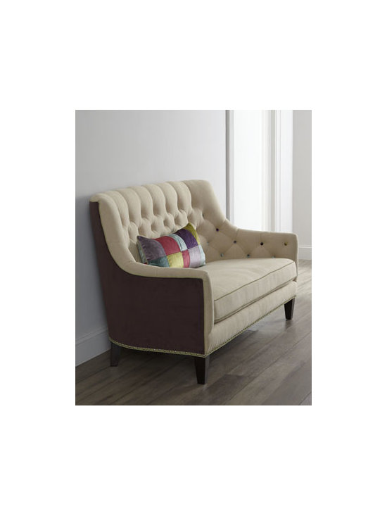 """Massoud - Massoud """"Fredonia"""" Sofa - Buttons in random colors and an elongated patchwork pillow add color and fun to the neutral upholstery on this slope-arm tufted sofa. Nailhead trim accenting the rail adds distinction. Frame made of select furniture-grade hardwoods. Upholstered in lin..."""